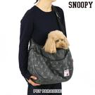 【PET PARADISE 寵物精品】SNOOPY 滿版深灰新款袋鼠外出包【M號】 (4~8KG) 寵物外出包