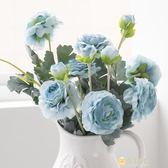 2頭露蓮花仿真花客廳干花花束玫瑰插花餐桌絹花假花wy 全館滿千89折