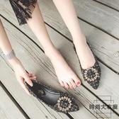 單鞋女大碼尖頭平底鞋瓢鞋韓版百搭淺口帶鉆【時尚大衣櫥】