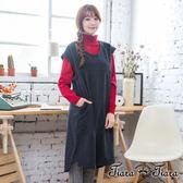【Tiara Tiara】激安 長短版混羊毛短袖洋裝(深灰)