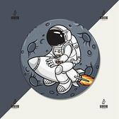 火箭太空宇航員月球卡通手工原創電腦游戲辦公定制圓形加厚滑鼠墊【愛物及屋】