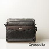 Crocodile Classic 經典系列真皮橫式側背包(L)0104-4103