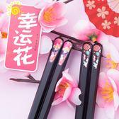 帝日式尖頭筷子防滑合金筷筷子套裝筷子家用非實木骨瓷10雙