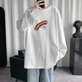 秋季長袖T恤男潮流寬鬆百搭新款上衣服男生帥氣外套休閒彩虹秋衣