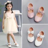 女童公主鞋韓版六一兒童寶寶演出白色皮鞋小女孩平底吾本良品