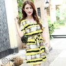 彩墨風格條紋大尺碼連衣裙 O-Ker歐珂兒 YG452-卡其色L號