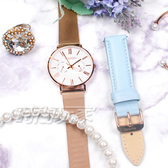 MANGO 羅馬時標 雙環 日期 米蘭帶 腕錶 快拆雙錶帶套組 玫瑰金x淺藍色 MA6731L-80R