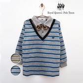 假兩件式灰色條紋POLO衫(附領結) 共2色   RQ POLO  臺灣製中大童春夏款[9632]