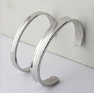 316L醫療鋼 弧形素面 C型開口手環-銀 防抗過敏 不退色 成套販售