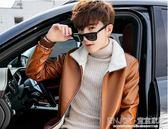 騎行服洋裝 男士皮夾克翻領潮流韓版修身PU皮衣男短款青年加絨帥氣機車服外套 宜室家居