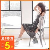 OrangeBear《DA4644》花朵印花百褶設計V領細肩帶洋裝.2色  --適 XL~5L