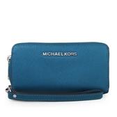MICHAEL KORS 銀字LOGO防刮皮革手掛式拉鍊中長夾 手機包 (藍色)-32T4STVE3L