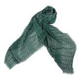 ARMANI COLLEZIONI 滿版Logo流蘇薄圍巾(綠色)102804-1