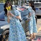 熱賣孕婦洋裝 Angel媽咪~孕婦裝夏裝時尚泡泡袖夏天裙子大碼碎花長裙孕婦連身裙【618 狂歡】