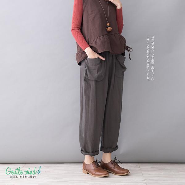 【Gentle wind】肌理口袋寬鬆長褲-F K837 FREE深灰