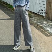 長褲 Space Picnic 素面後鬆緊落地西裝褲(現貨)【C19101073】