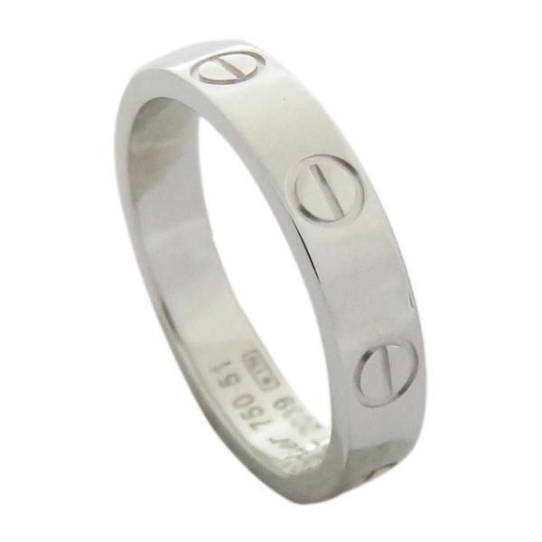 Cartier 卡地亞 LOVE系列18白K金戒指 #51 LOVE Wedding Ring【二手名牌 BRAND OFF】
