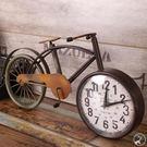 現+預購 時鐘 復古腳踏車造型 自行車座鐘 數字鐘 懷舊擺鐘 鐵藝 特色創意 裝飾擺飾-米鹿家居