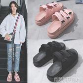 厚底拖鞋 涼拖鞋女夏2018新款韓版時尚外穿鬆糕厚底魔術貼沙灘一字涼拖鞋潮 克萊爾