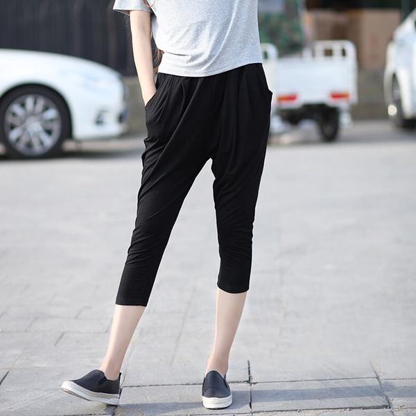 R1925七分小褶哈倫褲# 春夏莫代爾大碼顯瘦休閒哈倫褲女韓版口袋抽繩七分褲子 &小咪的店&