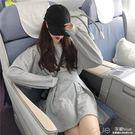秋天衣服女韓國chic寬鬆高腰燈籠袖洋裝百搭氣質顯瘦短裙潮 深藏blue