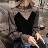 2021春裝新款絲絨上衣女內搭長袖拼接T恤心機性感亮絲網紗打底衫  【夏日新品】
