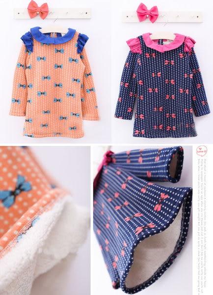 *╮小衣衫S13╭* 荷葉邊蝴蝶結印花厚款連身裙1011125