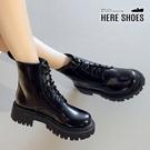 [Here Shoes] 4.5CM短靴 皮革厚底綁帶馬汀靴 經典復古百搭筒高13CM黑靴-KSGWX11