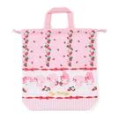 小禮堂 美樂蒂 日製 棉質束口手提袋 束口鞋袋 水桶包 縮口袋 (粉紅 草莓) 4550337-73409