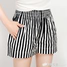 條紋短褲女夏五分褲新款寬鬆緊腰休閒大碼寬管沙灘褲子女熱褲 檸檬衣舍