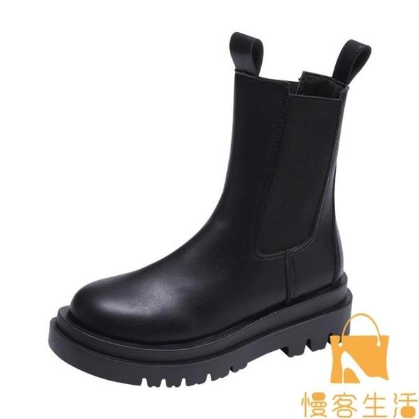 馬丁靴女薄款短靴英倫風中筒單靴切爾西煙筒靴【慢客生活】