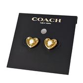 美國正品 COACH 愛心耳針式耳環-金色【現貨】