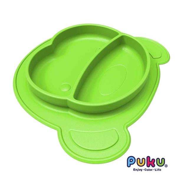 PUKU藍色企鵝 矽膠防滑餐盤-萊姆綠