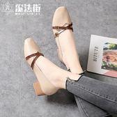 女鞋2019新款方頭交叉綁帶奶奶鞋女粗跟平底鞋瑪麗珍淺口單鞋 魔法街
