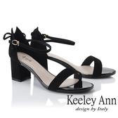 ★2019春夏★Keeley Ann簡約一字帶 素面麂皮環扣高跟涼鞋(黑色) -Ann系列
