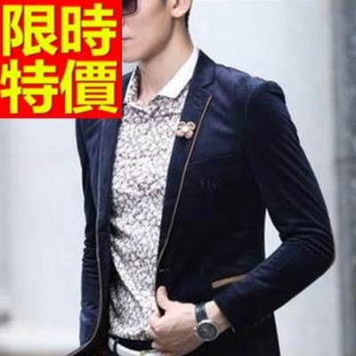 西裝外套  男韓版 西服 美觀商務-金絲絨英倫風防風氣質65b29[巴黎精品]