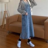 牛仔慵懶風背帶裙女秋季洋氣減齡韓版復古百搭長款過膝吊帶連身裙 伊蘿