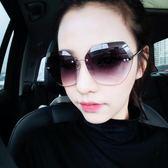 墨鏡多邊形粉色眼鏡女圓大臉眼睛潮無框顯瘦周揚青太陽鏡       智能生活館