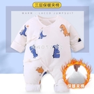 新生嬰兒兒衣服秋冬季純棉加厚連體衣寶寶冬裝加棉和尚服哈衣 【快速出貨】