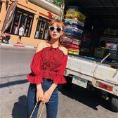 雪紡衫 夏季韓風女裝露肩修身顯瘦短款雪紡衫中袖上衣打底-炫科技