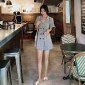 洋裝 韓系法式復古寬鬆顯瘦雙排扣格子西裝短袖連身裙 花漾小姐【現貨】