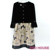 RED HOUSE-蕾赫斯-絨布剪接印花洋裝(NG商品)