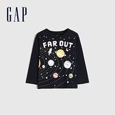 Gap男幼童 童趣創意印花圓領長袖T恤 663826-藏青色