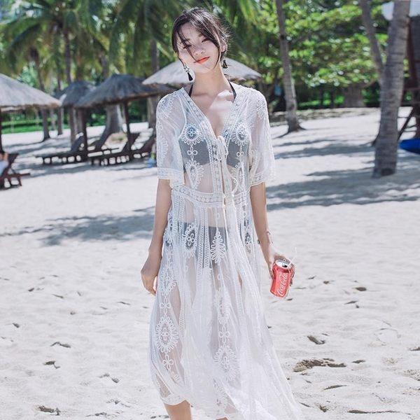 防曬衣實拍917#蕾絲泰國度假連身裙明星同款海邊沙灘長裙仙女神防曬泳衣罩衫GTB1F-BF-11B日韓屋