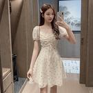 雪紡洋裝 韓系方領a字收腰連身裙 花漾小姐【預購】