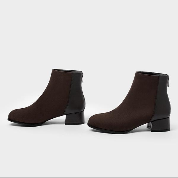 大尺碼女鞋小尺碼女鞋方頭素色拼接設計拉鍊短靴女靴(32-48)現貨#七日旅行