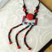 毛衣鍊 民族風漆雕-手工編織生日聖誕節禮物女項鍊73hf57[時尚巴黎]