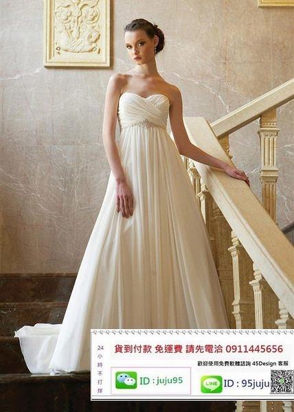 (45 Design) 客製化 定製7天到貨  新款釘珠飄逸拖尾雪紡單肩婚紗禮服 外貿抹胸婚紗禮服 新娘