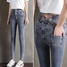 窄管褲 牛仔褲女彈力夏季超高腰顯瘦薄款長褲緊身小腳褲子-Ballet朵朵