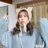 貓耳針織毛線帽女秋冬天甜美可愛韓版頭飾編織頭套帽子潮耳罩兒童 草莓妞妞